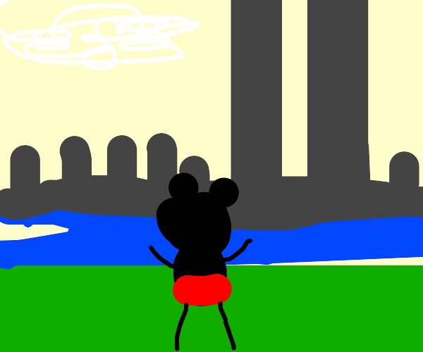 Mickey Mouse w/ the intact Twin Towers behind
