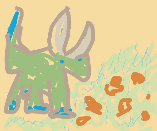 green bull in a meadow