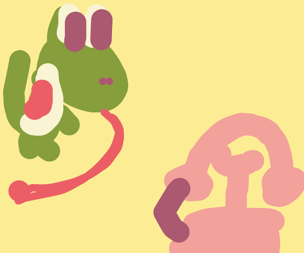 Yoshi is tempted to lick his telephone