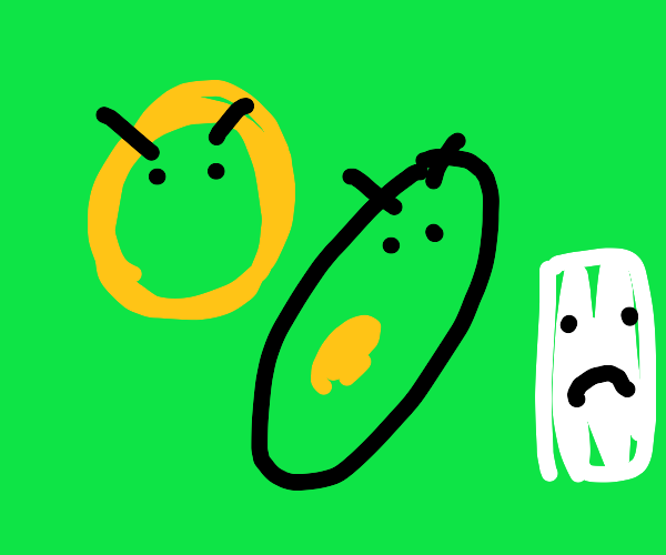 Donut and avocados are angry at sheet of pape