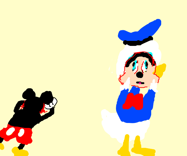 donald duck dons the face of his victim