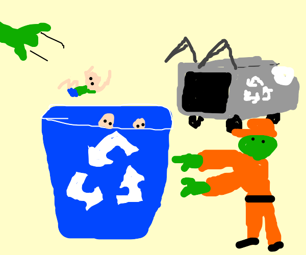 Human plastic recycling box