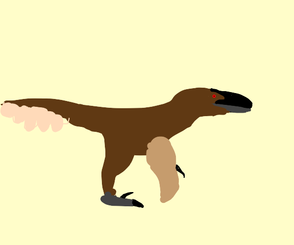 A correct dino with feathers.
