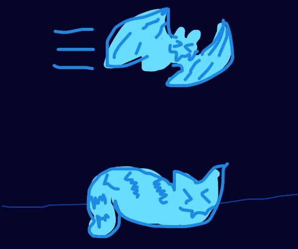 Blue bat flies over blue cat
