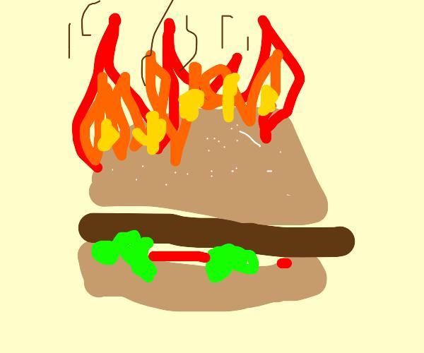 Burning hamburger