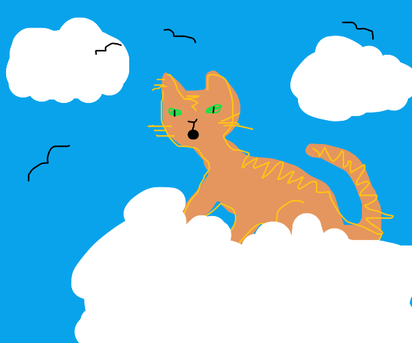 Kitty meowing on a cloud