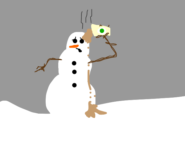 Snowman's suicide by hot coffee