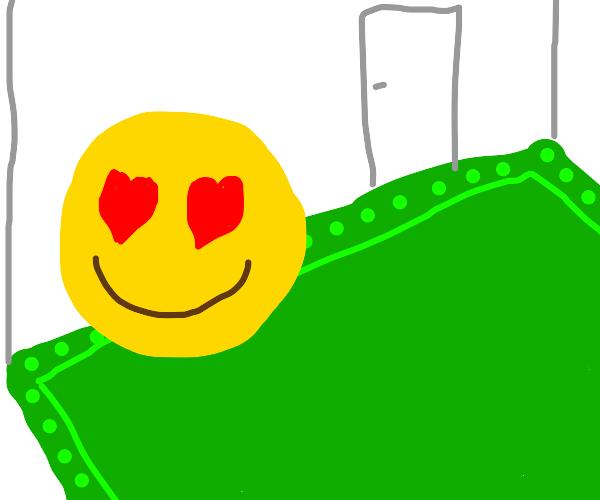 Heart eyes emoji loves carpet