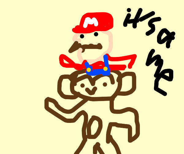 Mario on top of a monkey