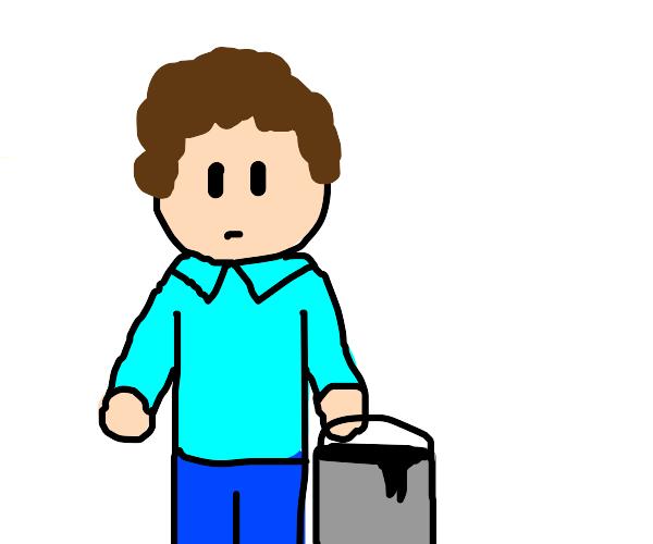 Jon Arbuckle with a bucket of tar