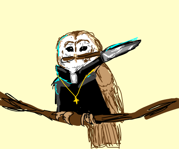 Owl priest with a knife