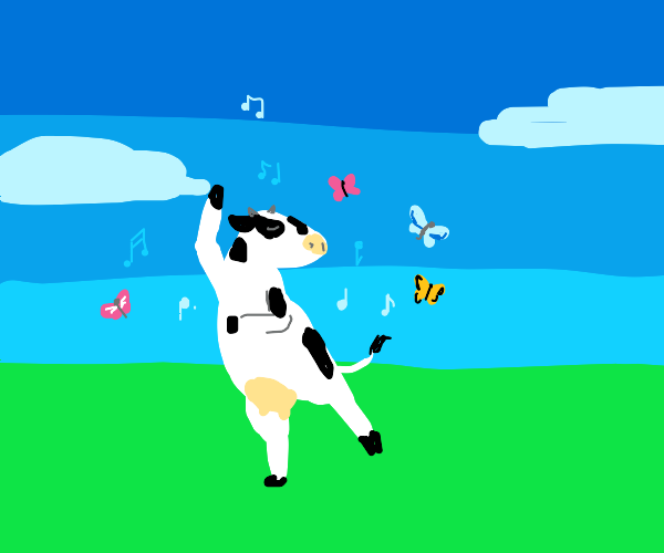 Girl cow dancing with butterflies