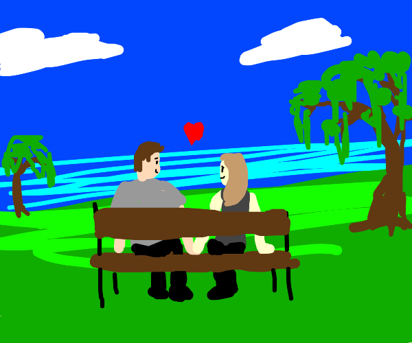 Two lovers on a bench