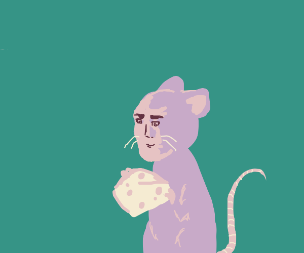 rat with human face holds cheese