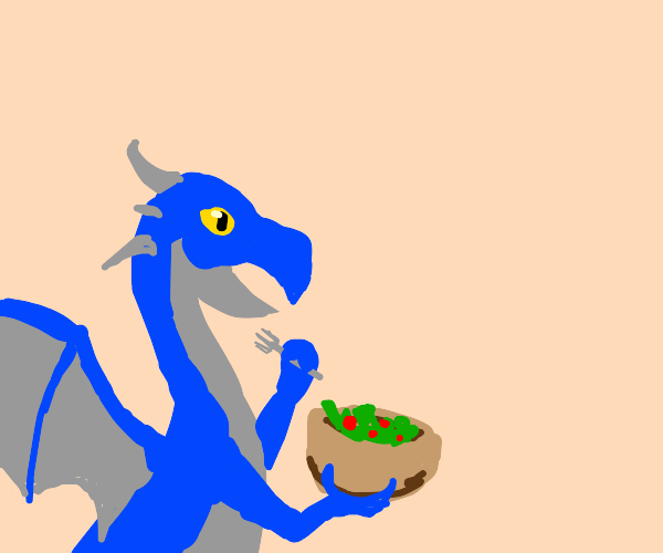 dragon excited to eat salad