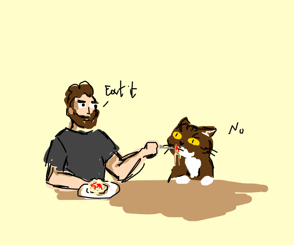 Cat being forced to eat spaghetti by man