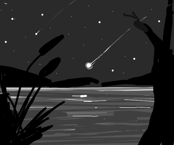 A shooting star just about to hit a lake