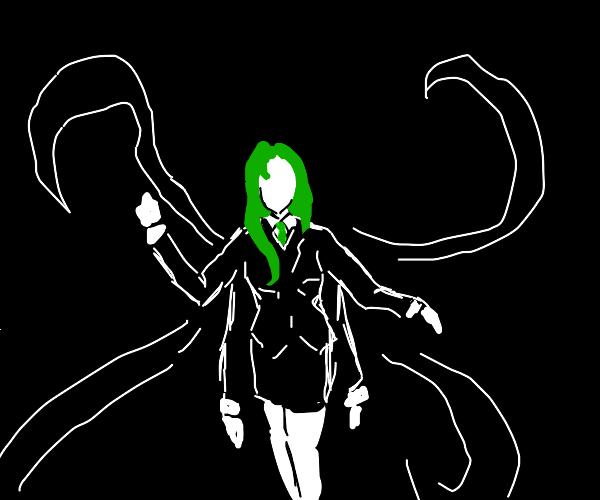 green-haired, 4-armed Slendergirl