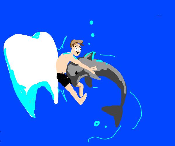 Dolphin slams a man into a tooth