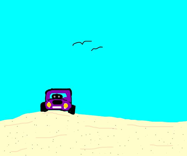 Purple car at the beach