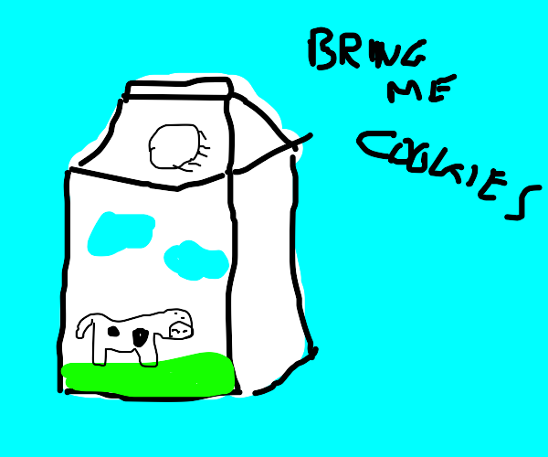 Milk carton with a cow gives you instructions