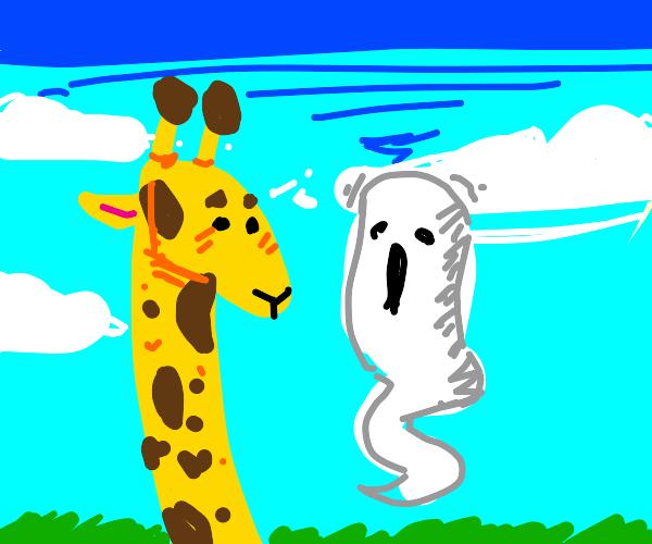 Giraffe has a ghost friend