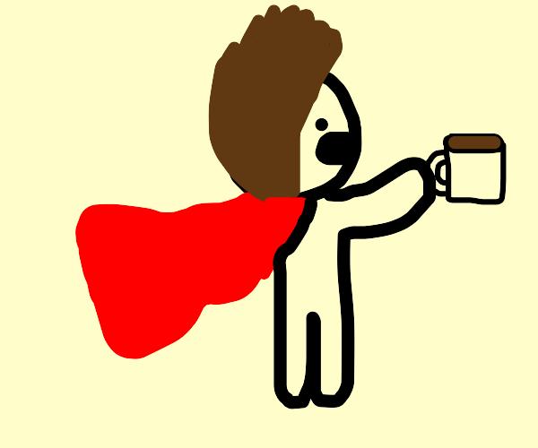 Crimson-caped consumer of coffee