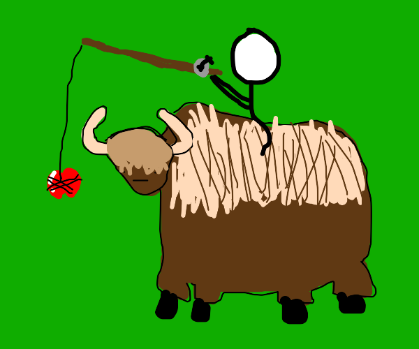 Stick man trying to tame a beady eyed yak