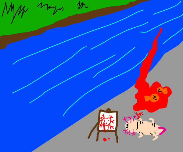 axolotl paint on canvas with fish blood