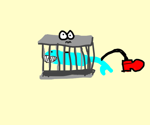 blue fish in a cage w/o water growing a leg