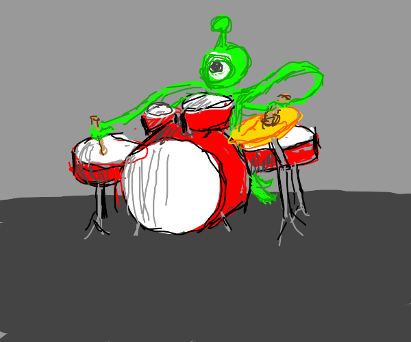alien playing the drums