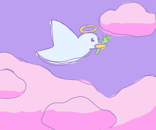 An angelic dove among pink clouds