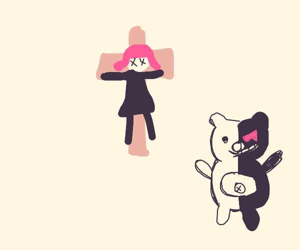 Pinkhair girl crucified by 2 faced teddy bear