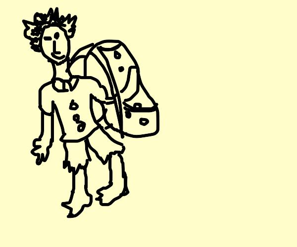 displeased brown backpack
