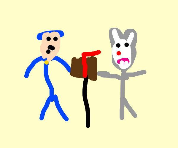 A cop and 1950's cartoon rabbit punch mailbox
