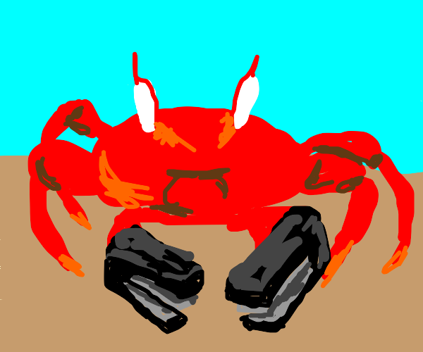 a crab but it has staplers for claws