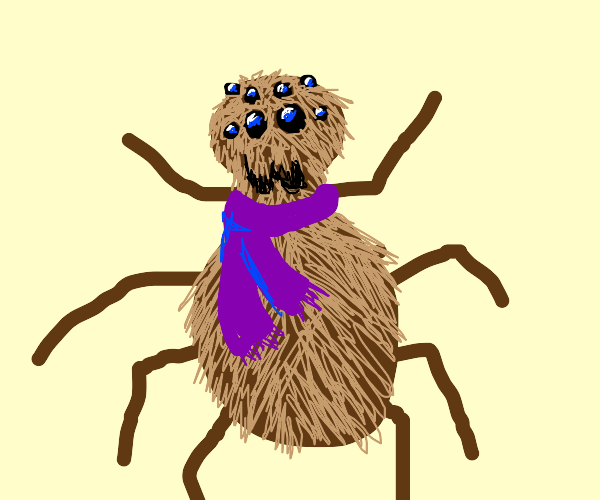 Bipedal spider wearing a lovely scarf