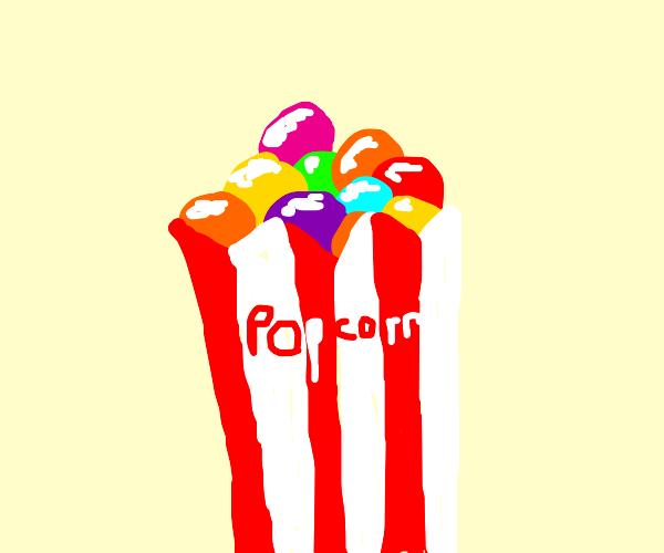 gumballs in a popcorn bag