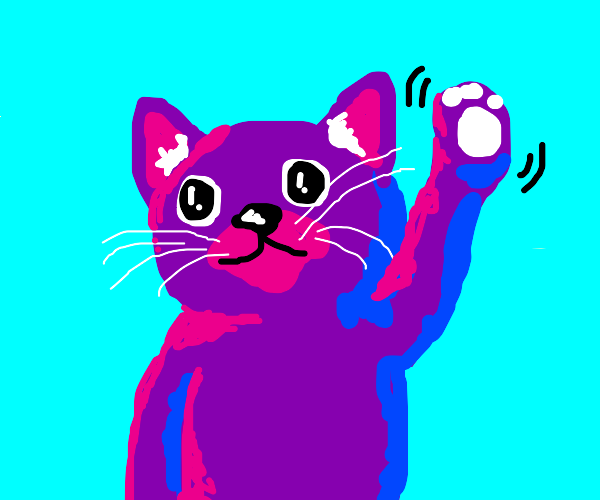 Purple cat waving