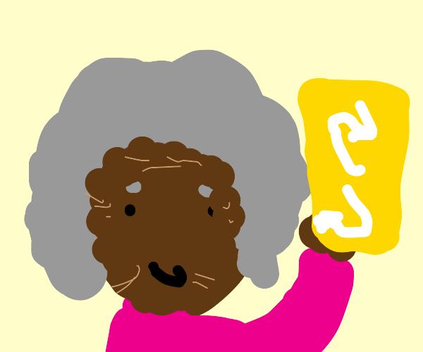 grandma holding a yellow uno reverse