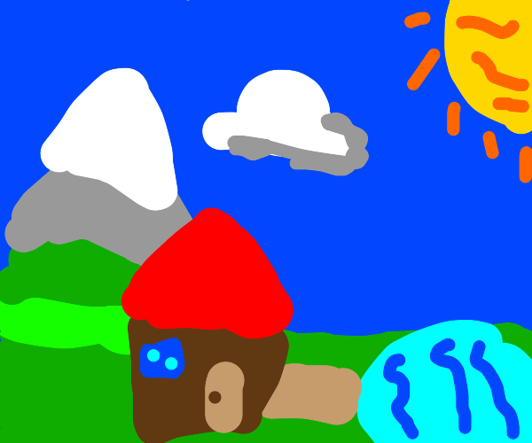 house with moutains lake and sun