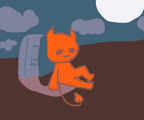 demon sitting at a graveyard