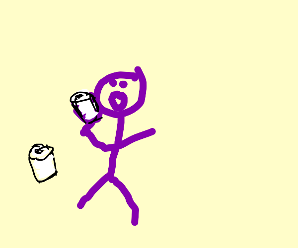 Purple man eating all the toilet paper rolls