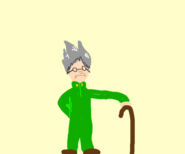 old man with spiky hair