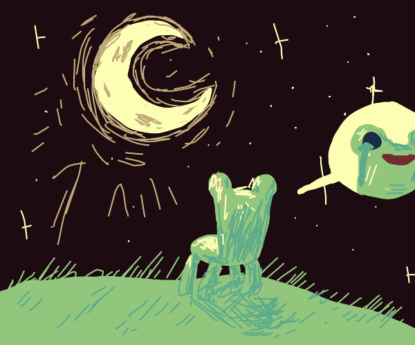 froggy chair gazes longingly at the moon