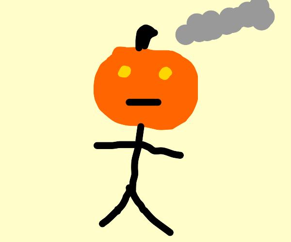 Pumpkin-head man is steaming