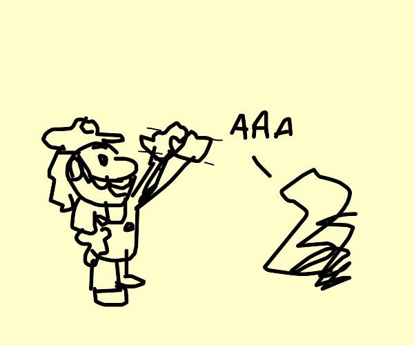 Mario greets a screaming object