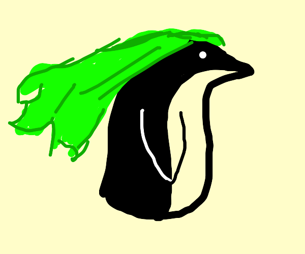 penguin with long green hair