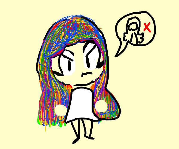 Girl doesn't like her rainbow hair