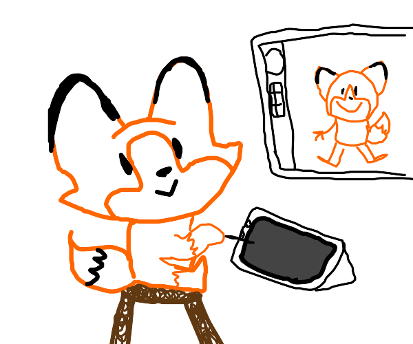 fox on a stool drawing itself on a tablet